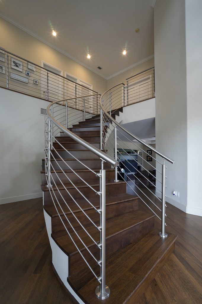 Curved Stainless Steel Rod Railings   Bella Stairs