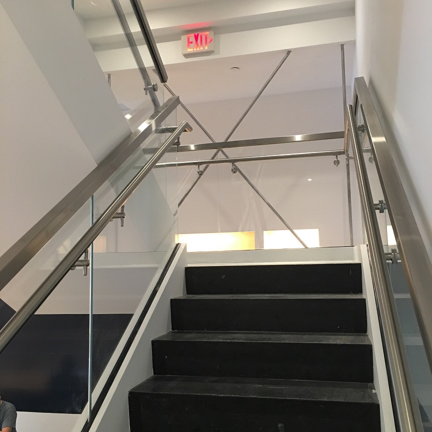 Commercial Staircase with Glass Railings in Miami Design ...